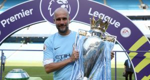Pep Guardiola has signed a two-year extension with Manchester City. Photograph: Martin Rickett/PA