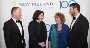 Michael Murphy, managing director of New Ireland Assurance, Francesca McDonagh,   Bank of Ireland CEO, Colette Filer,  granddaughter of MW O'Reilly, the first managing director of New Ireland Assurance, and her son John Filer. Photograph: Naoise Culhane