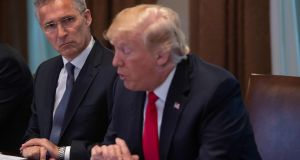 Nato Secretary General Jens Stoltenberg listens to US President Donald Trump during a meeting in the Cabinet Room at the White House. Photograph: Nicholas Kamm/AFP/Getty Images