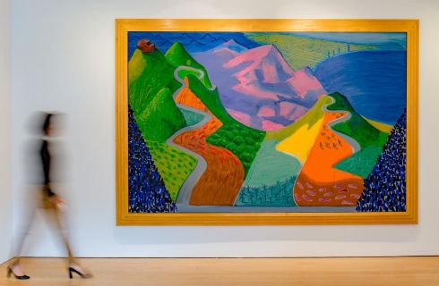 David Hockney's Pacific Coast Highway and Santa Monica. Two of his pieces which sold for more than 40 million dollars  (30 million euros). Photograph: PA