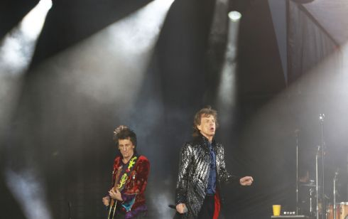 Ron Wood and Mick Jagger of The Rolling Stones at Croke Park this evening. Photograph: Nick Bradshaw