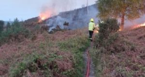 Firefighters attend to a gorse fire on Caggigoona commons, Kilmacanogue in Bray, Co Wicklow on Friday morning. Photograph: Declan Mallen