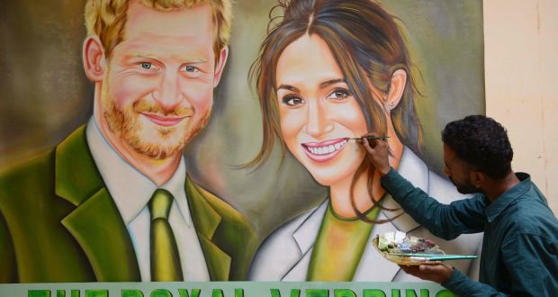Indian Painter Jagjot Singh Rubal Touches Up His Painting Of Prince Harry L And