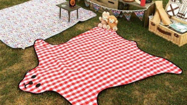 This gingham bearskin-shaped rug from UK-based suck has a waterproof backing.