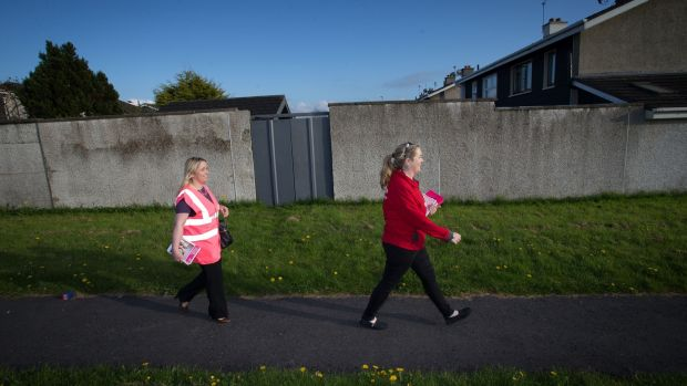TD Carol Nolan and Claire Delaney on the No campaign in Tullamore, Co Offaly. Photograph: Tom Honan