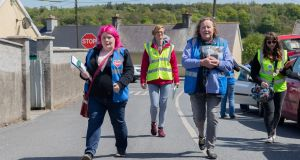 From left, Enya Kennedy, Veronica Plus, Katherine Nolan and Brid Collins  on the YES campaign canvas in Castlecomer Co Kilkenny. Photograph: Dylan Vaughan