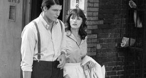 Margot Kidder with Christopher Reeve during the filming of Superman in 1977.