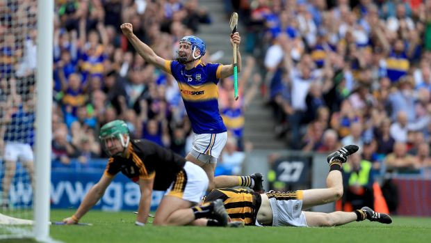 John McGrath celebrates scoring a goal for Tipperary against Kilkenny in the 2016 All-Ireland win over Kilkenny. Photograph: Donall Farmer/Inpho