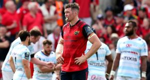 Munster's Peter O'Mahony  during their defeat to Racing 92. Photograph: Billy Stickland/Inpho