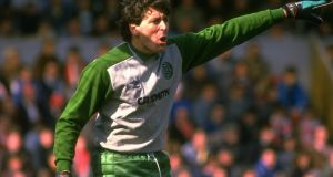 Packie Bonner directs his Celtic  team-mates during a game against Aberdeen in 1991. Photograph: Russell Cheyne/Allsport