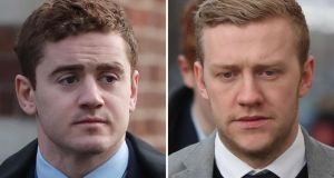 Ireland and Ulster rugby players Paddy Jackson and Stuart Olding, who were acquitted of rape following a trial two months ago.  File photograph: Niall Carson/PA Wire