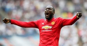 Romelu Lukaku celebrates United's  first goal in their semifinal win over Spurs. Photograph: David Klein