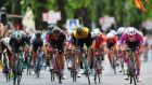 Elia Viviani (right)  pips Ireland's  Sam Bennett (Team Bora-Hansgrohe)  and Danny Van Poppel of ( Team LottoNL-Jumbo) and Jean-Pierre Drucker (BMC Racing) in a sprint to the line during Stage 13 of the Tour of Italy at Nervesa Della Battaglia. Photo: Justin Setterfield/Getty Images