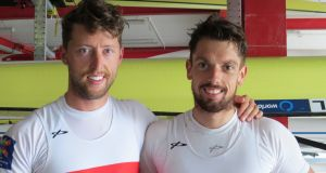 Mark O'Donovan and Shane O'Driscoll  at the Ireland trial on Friday at the National Rowing Centre in Cork