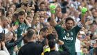Juventus goalkeeper  Gianluigi Buffon gestures to the fans as he is substituted off  in the  Serie A  game against  Hellas Verona at the Allianz Stadium in Turin. Photograph:  Massimo Pinca/Reuters