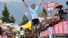 Chris Froome of Team Sky celebrates as he crosses the finish line to win the 14th stage of the Giro d'Italia. Photograph: PA