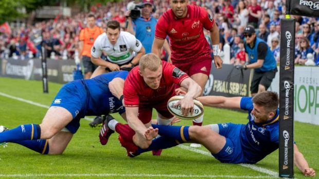 Munster's Keith Earls scores a try in the Guinness Pro 14 semi-final against Leinster at the RDS. Photograph: Morgan Treacy/Inpho