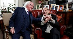 President Michael D Higgins and his friend Tom Murphy about whom Mr Higgins spoke affectionately. Photograph: The Irish Times