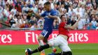 Manchester United's Phil Jones concedes a first half penalty. Photograph: Andrew Yates/Reuters