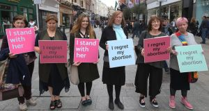 Advocates for a No vote in a demonstration on Grafton Street in Dublin. Photograph:  Stephen Collins/Collins Photos