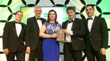 Jens Buchwald, Jim Leahy, Grainne Devaney and Peter Moran of AbbVie accept the 2018 Green Pharmaceutical Award from  Michael White of sponsor Sirus (second from right).