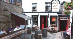 The Brazen Head beer garden: the Dublin pub  opened its doors in 1198. Photograph: Frank Miller