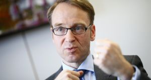 "Bundesbank president Jens Weidmann said public discussion of who will succeed Mario Draghi as ECB president had started ""much too early"". Photograph: Kai Pfaffenbach/Reuters"