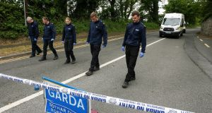 Wicklow Garda divisional search teams at the scene of the suspected abduction at Enniskerry village, Co Wicklow. Photograph: Garry O'Neill