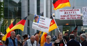 Supporters of  German anti-immigration party Alternative for Germany (AfD) in Berlin on May 9th. Photograph: Fabrizio Bensch/Reuters