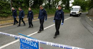 Wicklow Garda divisional search teams at the scene of the abduction of 24-year-old Jastine Valdez on the Kilcroney Road, Enniskerry village, Co Wicklow. Photograph: Garry O'Neill