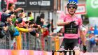 Britain's Simon Yates celebrates after winning the 15th stage of the Giro d'Italia, from Tolmezzo to Sappada. Photograph: Daniel Dal Zennaro/ANSA via AP