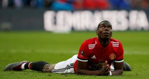 Manchester United's Paul Pogba reacts after heading a chance wide during the FA Cup final against Chelsea. Photo: Andrew Yates/Reuters