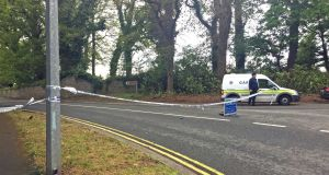 Garda on the R760 in Enniskerry, Co Wicklow, where they are investigating the suspected abduction of Jastine Valdez (24). Photograph: Eleanor Barlow/PA Wire