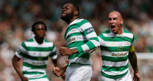 Olivier Ntcham of Celtic celebrates after scoring his team's second goal during the Scottish Cup Final between Celtic and Motherwell at Hampden Park. Photo: Ian MacNicol/Getty Images