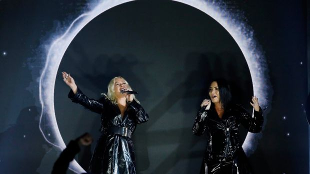 Christina Aguilera with Demi Lovato performing 'Fall In Line' at the Billboard Music Awards in Las Vegas. Photograph: Mario Anzuoni/Reuters