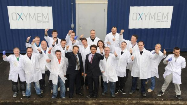 OxyMem managing director Wayne Byrne (front left) and technical director Dr Eoin Syron with the Irish SME's team. Photograph: David O'Shea