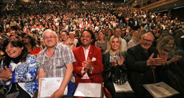 New Irish citizens: participants at one of Monday's three ceremonies at Killarney Convention Centre.