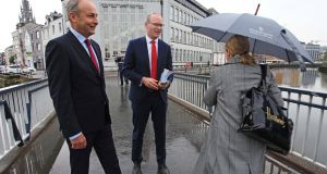 Fianna Fáil leader Micheál Martin and Tánaiste Simon Coveney  canvassing in Cork city on Monday morning for a Yes vote in the upcoming referendum. Photograph: Diane Cusack
