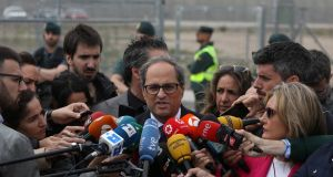 Newly elected Catalan regional leader Quim Torra outside the Estremera prison near Madrid where he visited Jordi Turull, Josep Rull and  other pro-independence politicians who are jailed there. Photograph: Sergio Perez/Reuters