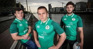 Diarmuid Barron, Caelan Doris and Matthew Agnew at the announcement of the  squad for the U-20 World Cup in France at Spencer Dock in Dublin yesterday. Inpho: Dan Sheridan/Inpho