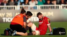 Scarlets' John Barclay lies injuredduring their Pro14 semi-final clash with Glasgow. Photo: James Crombie/Inpho