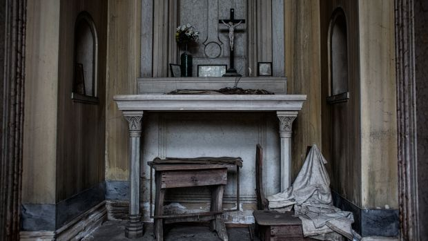 The Testolini Quadri chapel, which is being auctioned off, in the cemetery of San Michele, Venice's isle of the dead.