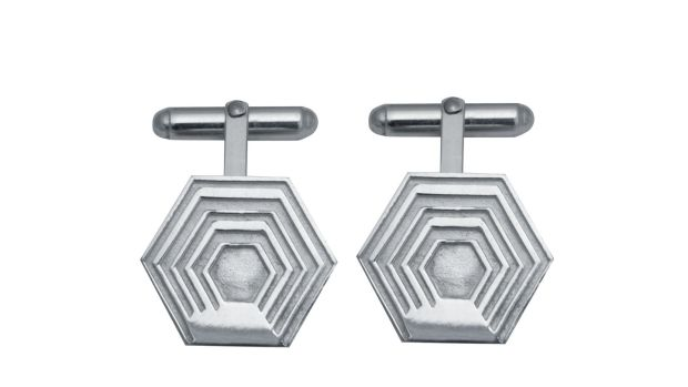 Hexagon cufflinks from the Leah Hewson for Edge Only (EOxLH) collection.