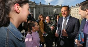 Abortion referendum: Taoiseach Leo Varadkar and Health Minister Simon Harris canvassing nursing students in Dublin last week. Photograph: Colin Keegan/Collins