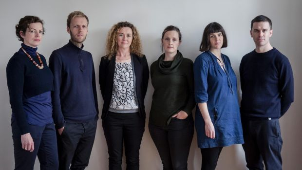 Free Market team - From left to right: Miriam Delaney, Jeffrey Bolhuis, Orla Murphy, Jo Anne Butler, Tara Kennedy, Laurence Lord. Photograph: Ste Murray