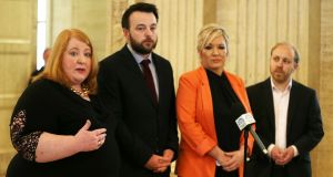 Leaders of the Pro-Remain parties in Northern Ireland, (left to right) Naomi Long from the Alliance Party, Colm Eastwood from the SDLP, Michelle O'Neill from Sinn Féin and Steven Agnew from the Green Party, hold a joint press conference urging the UK to keep aligned with EU customs arrangements post-Brexit. Photograph: Niall Carson/PA Wire