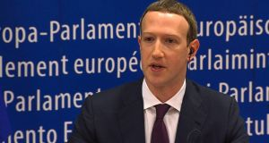 "Facebook CEO Mark Zuckerberg  at the European Parliament in Brussels: ""We didn't take a broad enough view of our responsibilities."" Photograph: AFP/Getty Images"