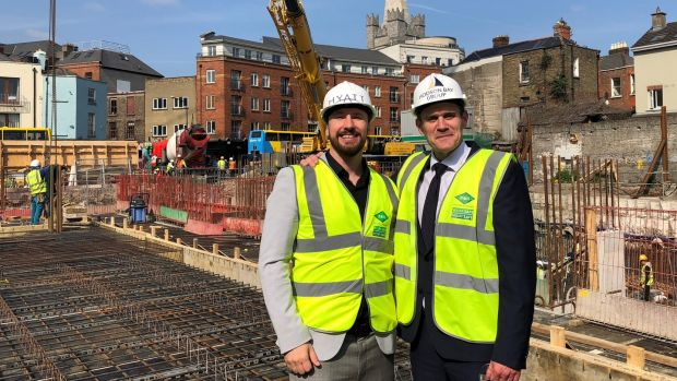 Jason Ballard, vice-president of Hyatt Europe, with Johnny O'Sullivan, director of Hodson Bay Group, at site of Hyatt's new Dean Street hotel in Dublin's Liberties.