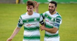 Ronan Finn celebrates with Roberto Lopez after scoring Shamrock Rovers' second goal against St Pat's  at the Tallaght Stadium. Photograph: Oisin Keniry/Inpho