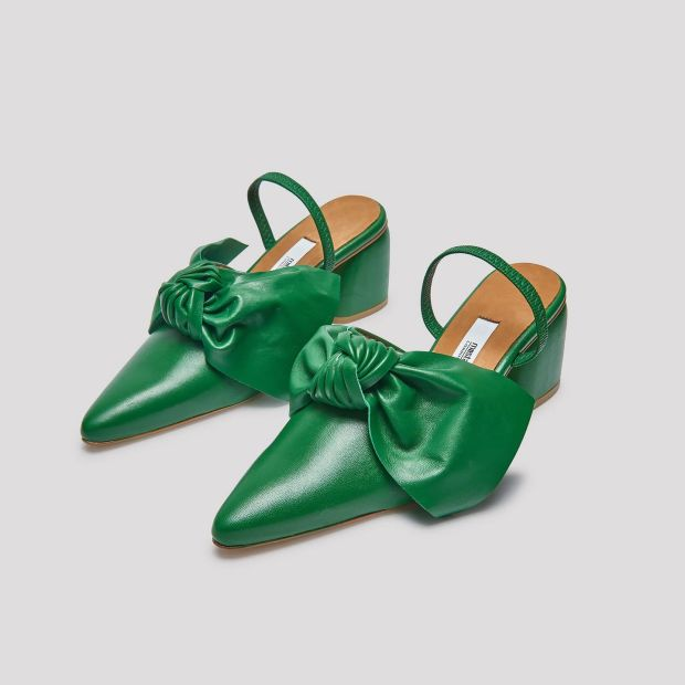 Evergreen leather mid heel mules, €225, Miista, miista.com